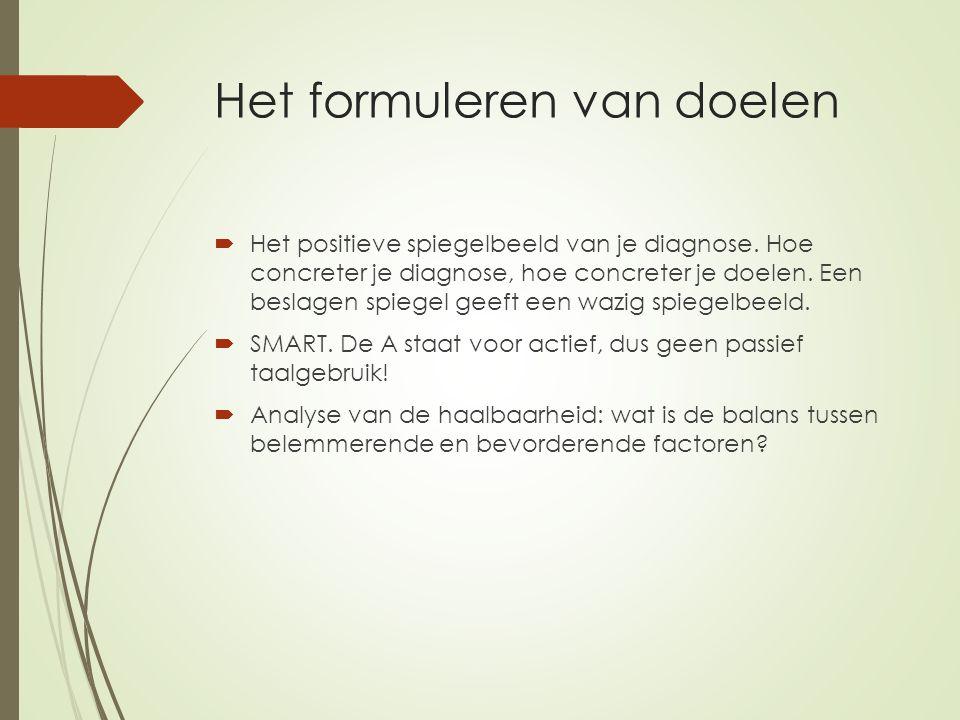 Het formuleren van doelen  Het positieve spiegelbeeld van je diagnose.