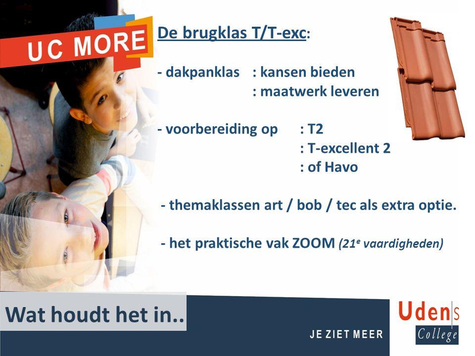 Wat houdt het in.. De brugklas T/T-exc : - dakpanklas: kansen bieden : maatwerk leveren - voorbereiding op: T2 : T-excellent 2 : of Havo - themaklasse