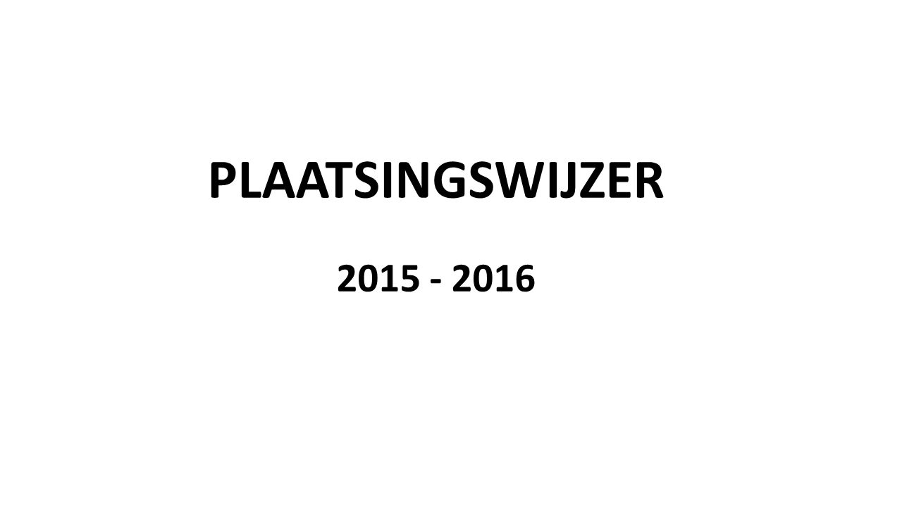 PLAATSINGSWIJZER 2015 - 2016