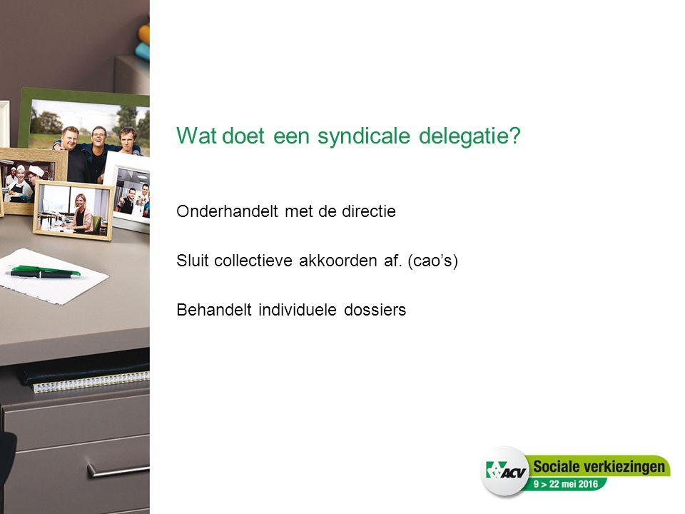 Wat doet een syndicale delegatie? Onderhandelt met de directie Sluit collectieve akkoorden af. (cao's) Behandelt individuele dossiers