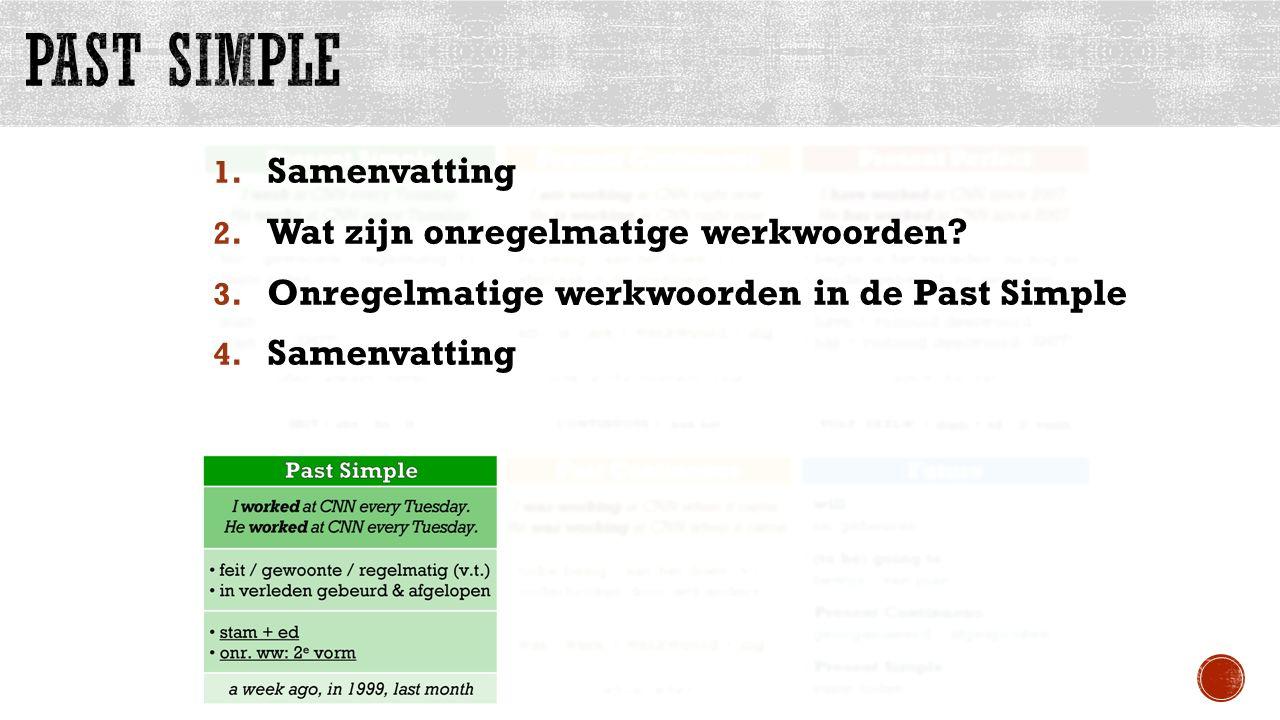 1. Samenvatting 2. Wat zijn onregelmatige werkwoorden? 3. Onregelmatige werkwoorden in de Past Simple 4. Samenvatting