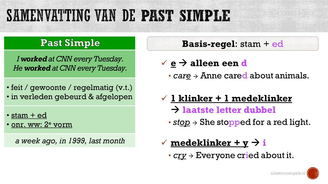allesvoorengels.nl Basis-regel: stam + ed e  alleen een d care  Anne cared about animals.