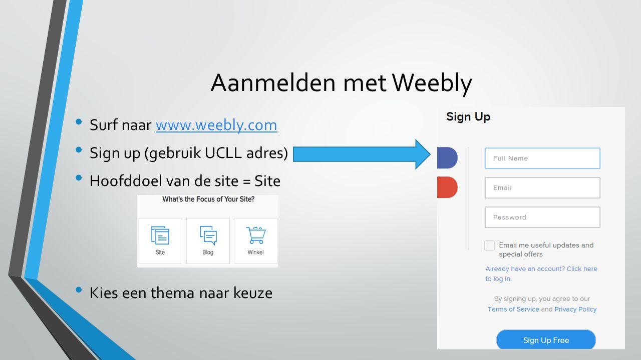 Aanmelden met Weebly Surf naar www.weebly.comwww.weebly.com Sign up (gebruik UCLL adres) Hoofddoel van de site = Site Kies een thema naar keuze