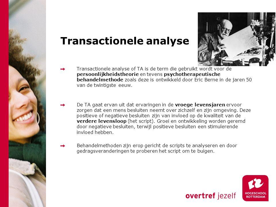 Transactionele analyse Transactionele analyse of TA is de term die gebruikt wordt voor de persoonlijkheidstheorie en tevens psychotherapeutische behan