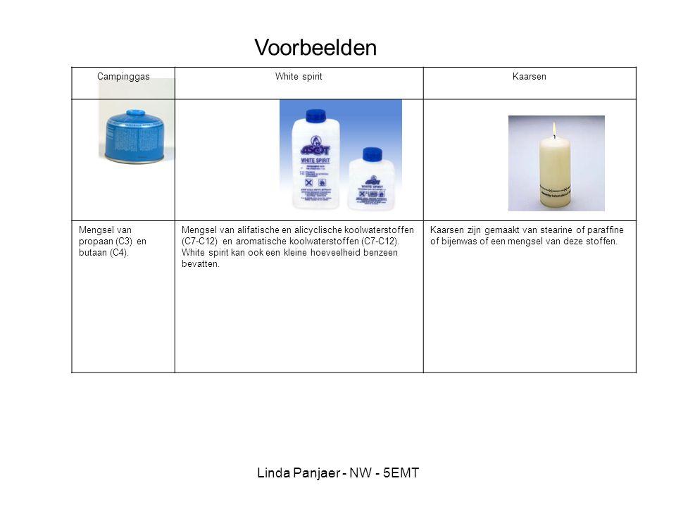 Linda Panjaer - NW - 5EMT CampinggasWhite spiritKaarsen Mengsel van propaan (C3) en butaan (C4). Mengsel van alifatische en alicyclische koolwaterstof