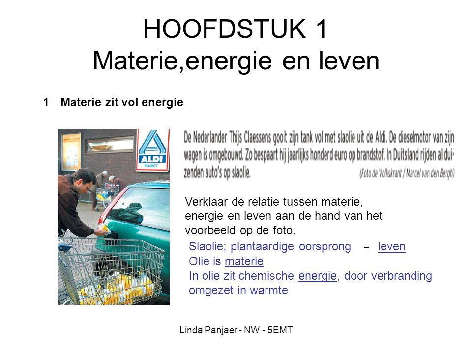Linda Panjaer - NW - 5EMT HOOFDSTUK 1 Materie,energie en leven 1Materie zit vol energie Verklaar de relatie tussen materie, energie en leven aan de ha
