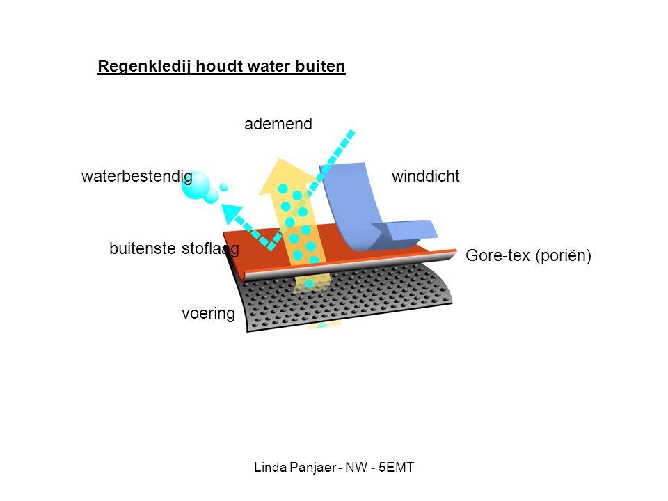 Linda Panjaer - NW - 5EMT voering ademend waterbestendigwinddicht Gore-tex (poriën) Regenkledij houdt water buiten buitenste stoflaag
