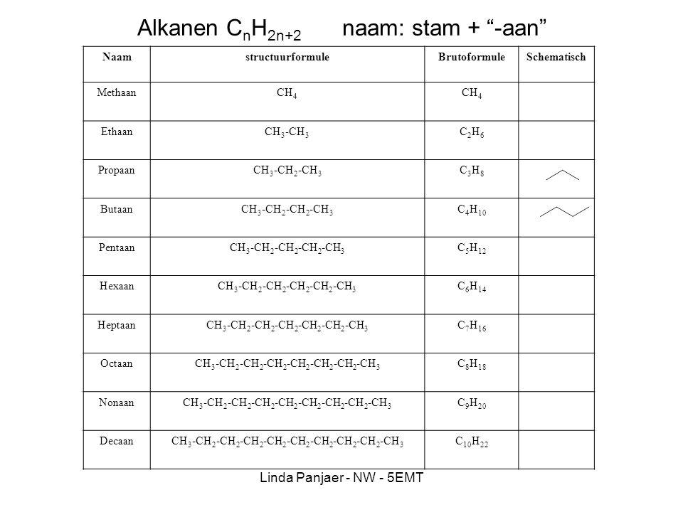 """Linda Panjaer - NW - 5EMT Alkanen C n H 2n+2 naam: stam + """"-aan"""" NaamstructuurformuleBrutoformuleSchematisch MethaanCH 4 EthaanCH 3 -CH 3 C2H6C2H6 Pro"""