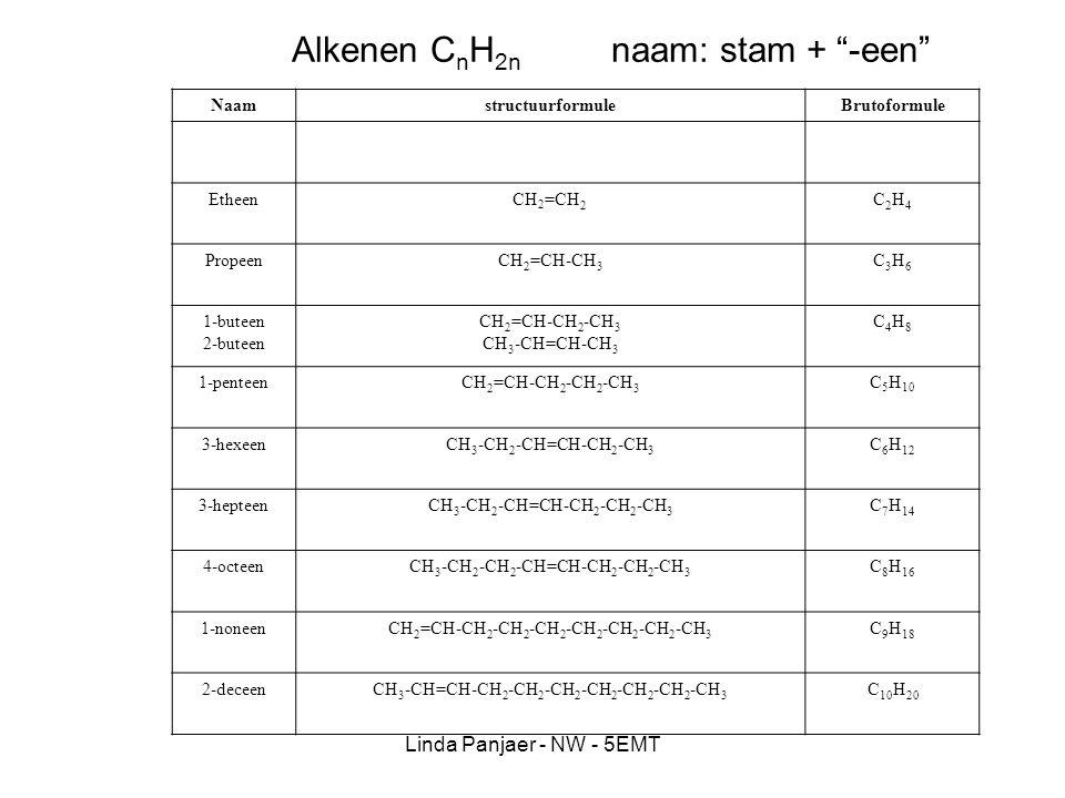 Linda Panjaer - NW - 5EMT Alkynen C n H 2n-2 naam: stam + -yn NaamstructuurformuleBrutoformule EthynCH C2H2C2H2 propynCH C-CH 3 C3H4C3H4 2-butyn CH 3 -C C-CH 3 C4H6C4H6