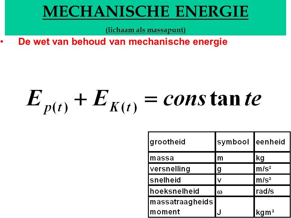 MECHANISCHE ENERGIE (lichaam als massapunt) De wet van behoud van mechanische energie