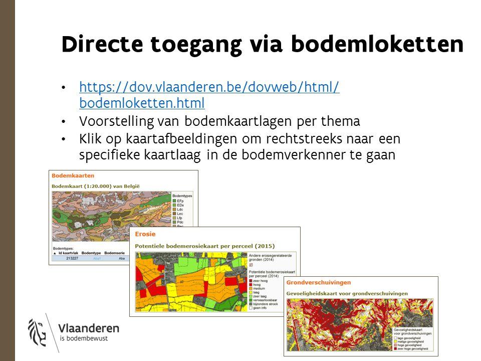 Directe toegang via bodemloketten https://dov.vlaanderen.be/dovweb/html/ bodemloketten.html https://dov.vlaanderen.be/dovweb/html/ bodemloketten.html