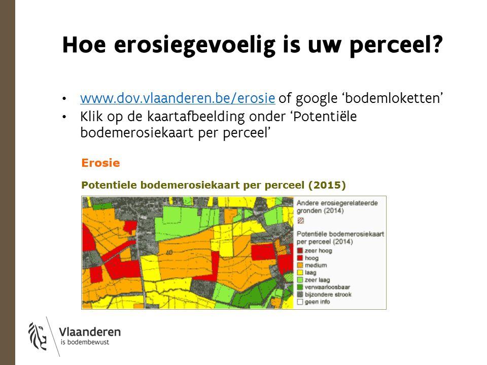 Hoe erosiegevoelig is uw perceel? www.dov.vlaanderen.be/erosie of google 'bodemloketten' www.dov.vlaanderen.be/erosie Klik op de kaartafbeelding onder