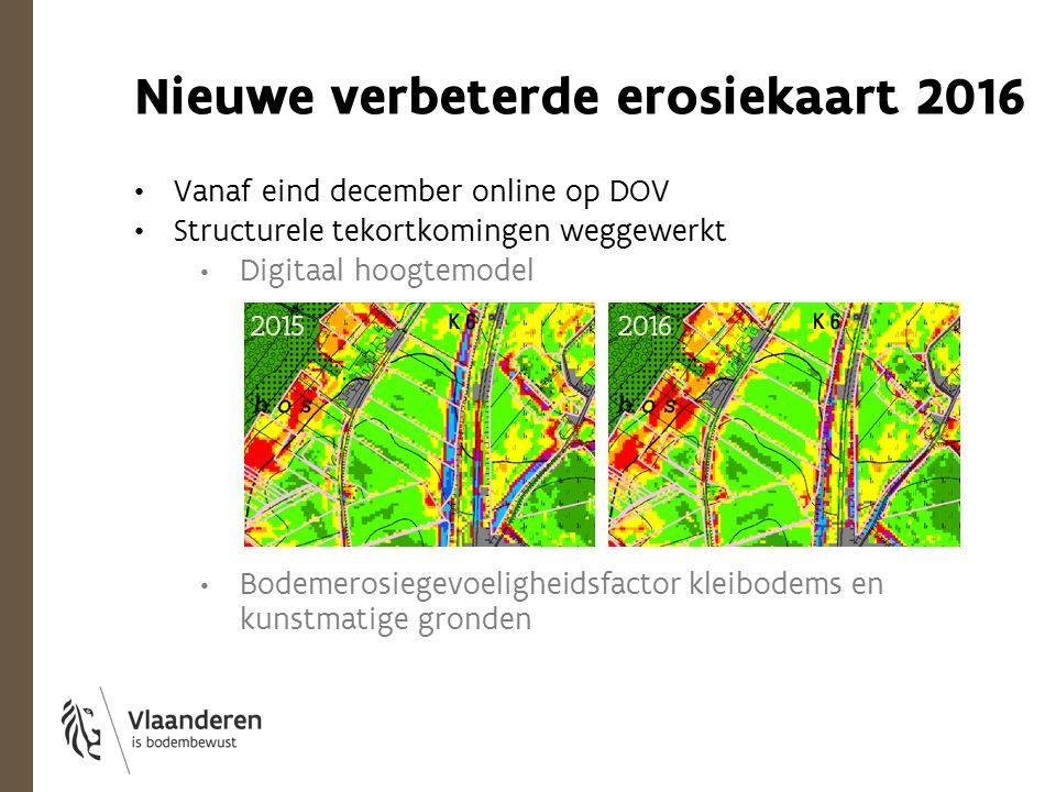 Nieuwe verbeterde erosiekaart 2016 Vanaf eind december online op DOV Structurele tekortkomingen weggewerkt Digitaal hoogtemodel Bodemerosiegevoeligheidsfactor kleibodems en kunstmatige gronden 2015 2016