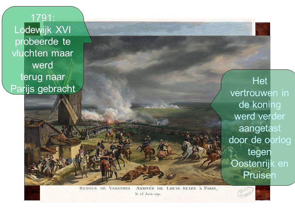 1791: Lodewijk XVI probeerde te vluchten maar werd terug naar Parijs gebracht Het vertrouwen in de koning werd verder aangetast door de oorlog tegen Oostenrijk en Pruisen