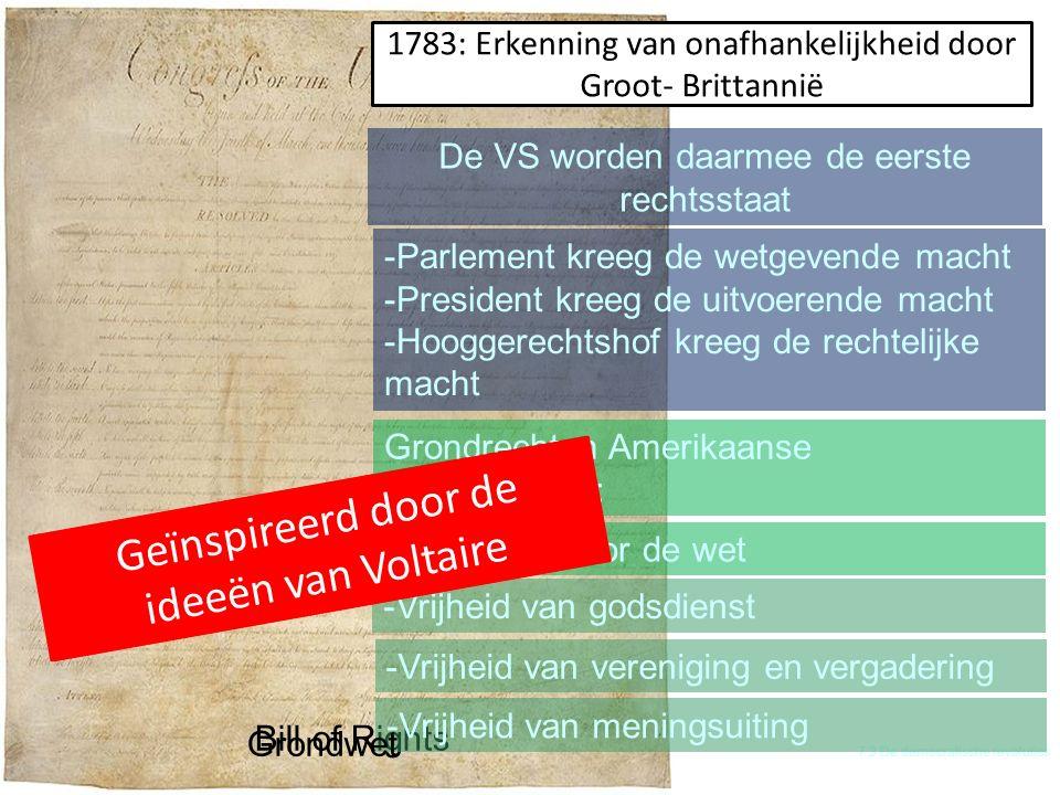 H 7 De tijd van pruiken en revoluties 7.3 De democratische revoluties Bill of Rights -Vrijheid van godsdienst -Vrijheid van vereniging en vergadering -Vrijheid van meningsuiting Grondwet -Parlement kreeg de wetgevende macht -President kreeg de uitvoerende macht -Hooggerechtshof kreeg de rechtelijke macht 1783: Erkenning van onafhankelijkheid door Groot- Brittannië Geïnspireerd door de ideeën van Montesquieu De VS worden daarmee de eerste rechtsstaat Grondrechten Amerikaanse staatsburgers: -Gelijkheid voor de wet Geïnspireerd door de ideeën van Voltaire