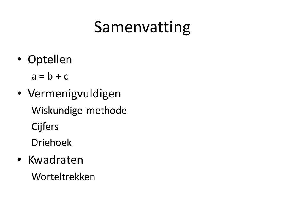 Samenvatting Optellen a = b + c Vermenigvuldigen Wiskundige methode Cijfers Driehoek Kwadraten Worteltrekken