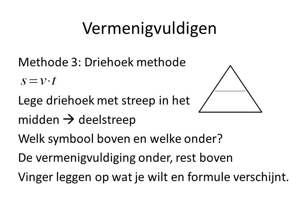 Vermenigvuldigen Methode 3: Driehoek methode s Lege driehoek met streep in het v x t midden  deelstreep Welk symbool boven en welke onder? De vermeni