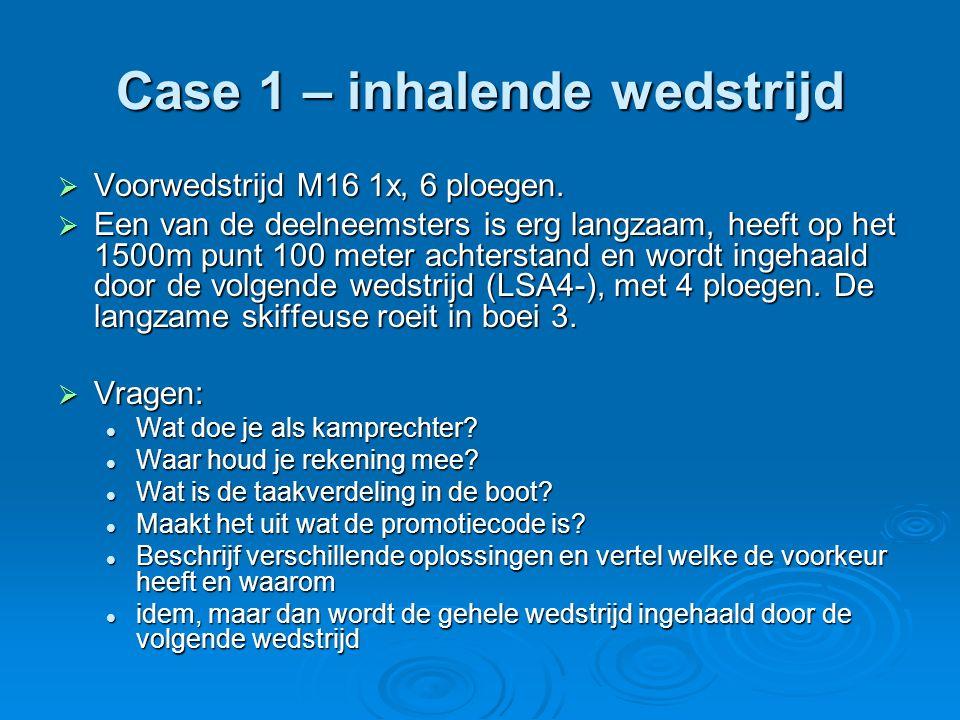 Case 1 – inhalende wedstrijd  Voorwedstrijd M16 1x, 6 ploegen.