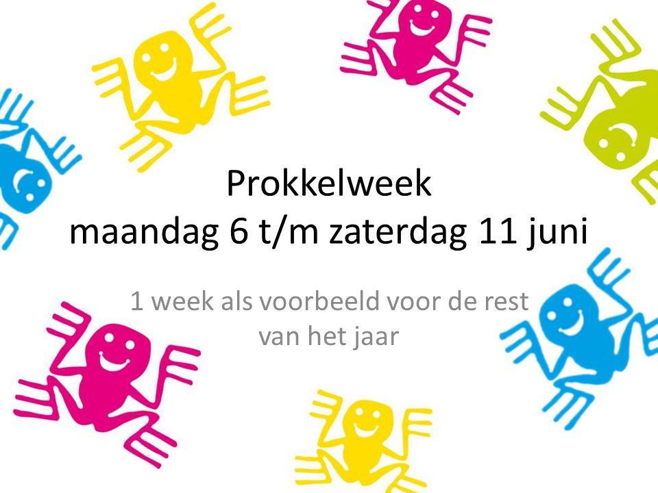 Prokkelweek maandag 6 t/m zaterdag 11 juni 1 week als voorbeeld voor de rest van het jaar