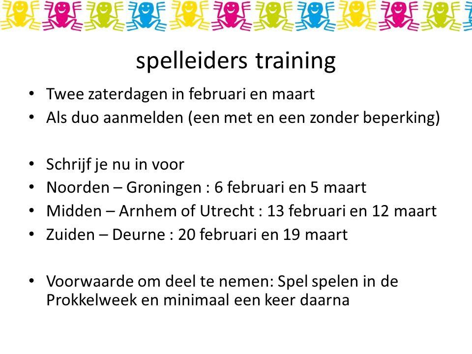spelleiders training Twee zaterdagen in februari en maart Als duo aanmelden (een met en een zonder beperking) Schrijf je nu in voor Noorden – Groninge