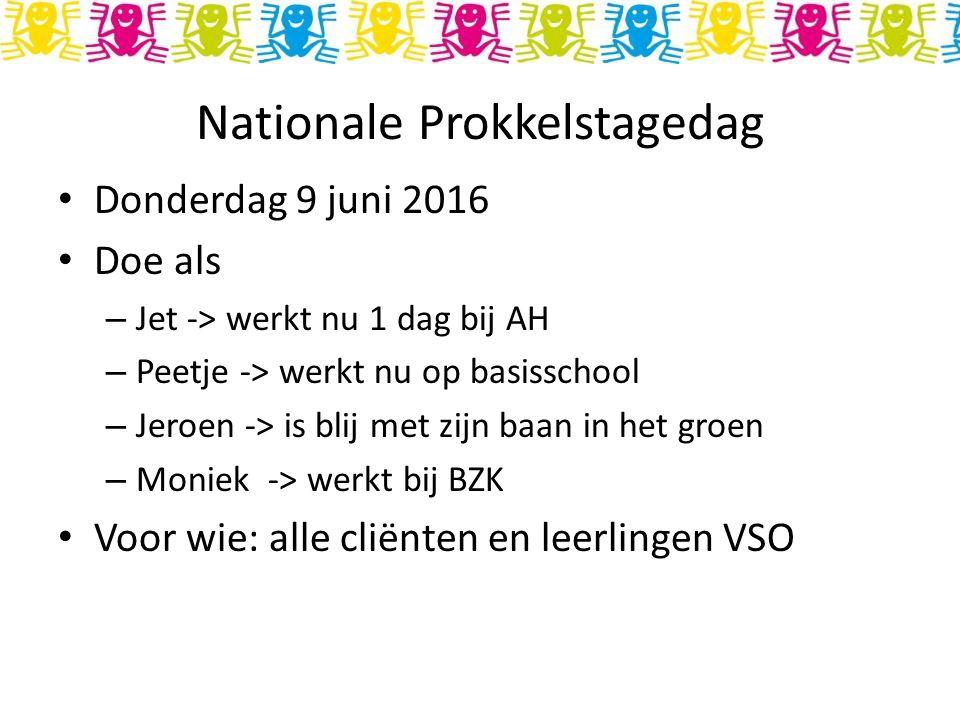Nationale Prokkelstagedag Donderdag 9 juni 2016 Doe als – Jet -> werkt nu 1 dag bij AH – Peetje -> werkt nu op basisschool – Jeroen -> is blij met zijn baan in het groen – Moniek -> werkt bij BZK Voor wie: alle cliënten en leerlingen VSO