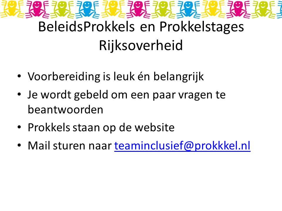 BeleidsProkkels en Prokkelstages Rijksoverheid Voorbereiding is leuk én belangrijk Je wordt gebeld om een paar vragen te beantwoorden Prokkels staan op de website Mail sturen naar teaminclusief@prokkkel.nlteaminclusief@prokkkel.nl