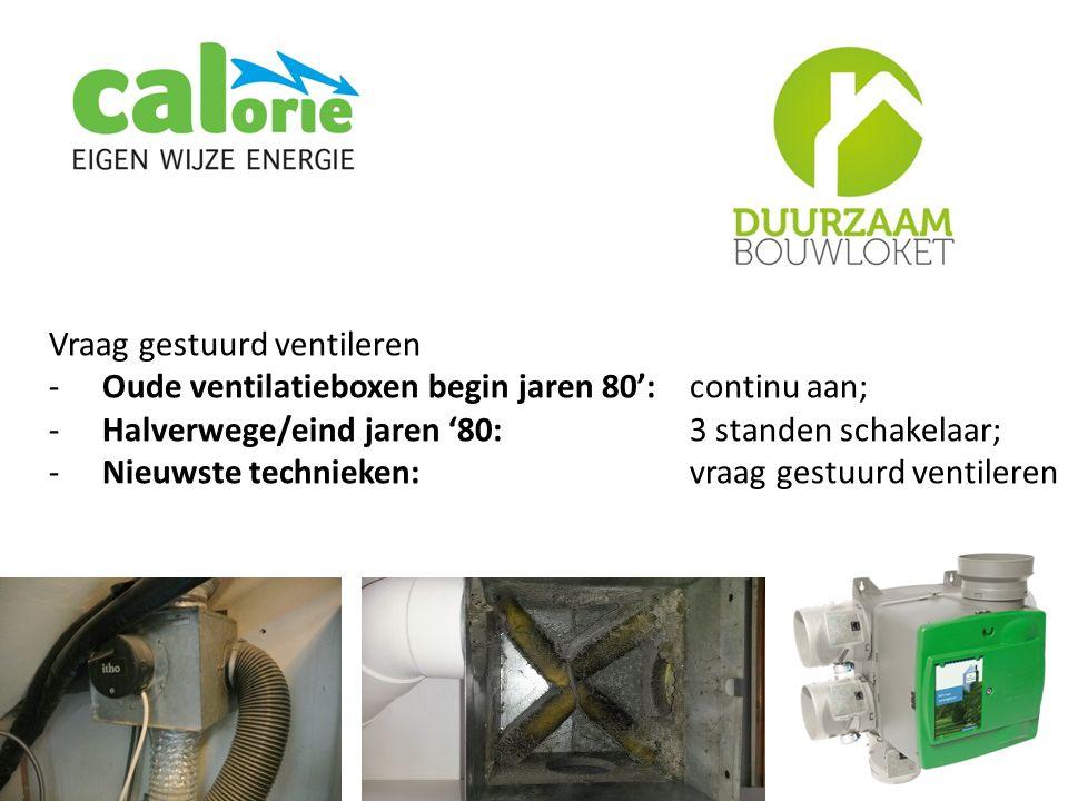 Vraag gestuurd ventileren -Oude ventilatieboxen begin jaren 80': continu aan; -Halverwege/eind jaren '80: 3 standen schakelaar; -Nieuwste technieken: