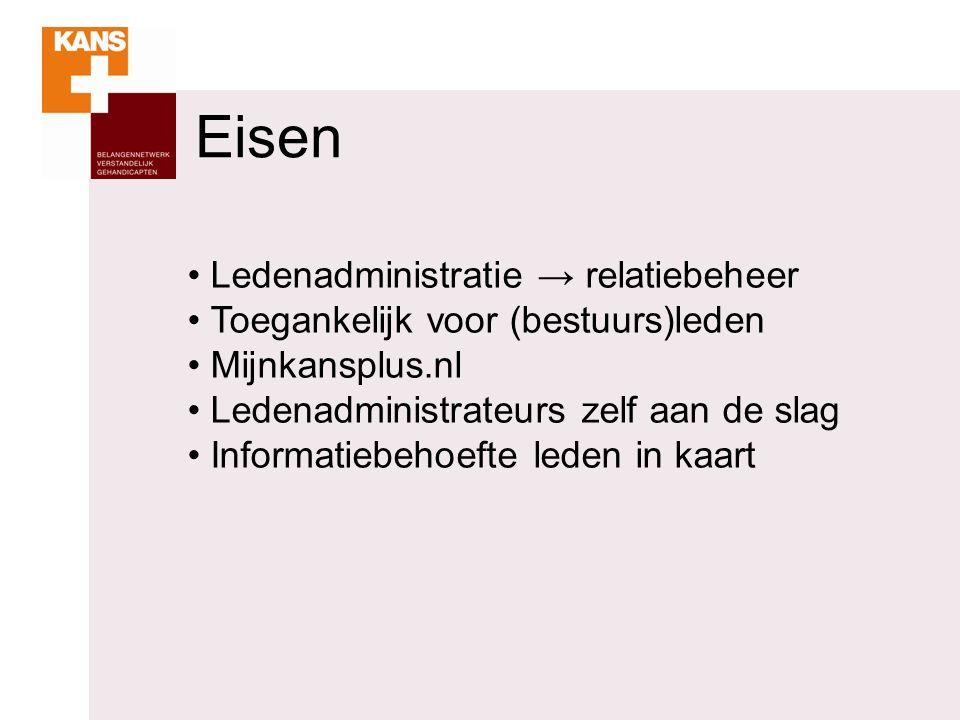 Eisen Ledenadministratie → relatiebeheer Toegankelijk voor (bestuurs)leden Mijnkansplus.nl Ledenadministrateurs zelf aan de slag Informatiebehoefte leden in kaart