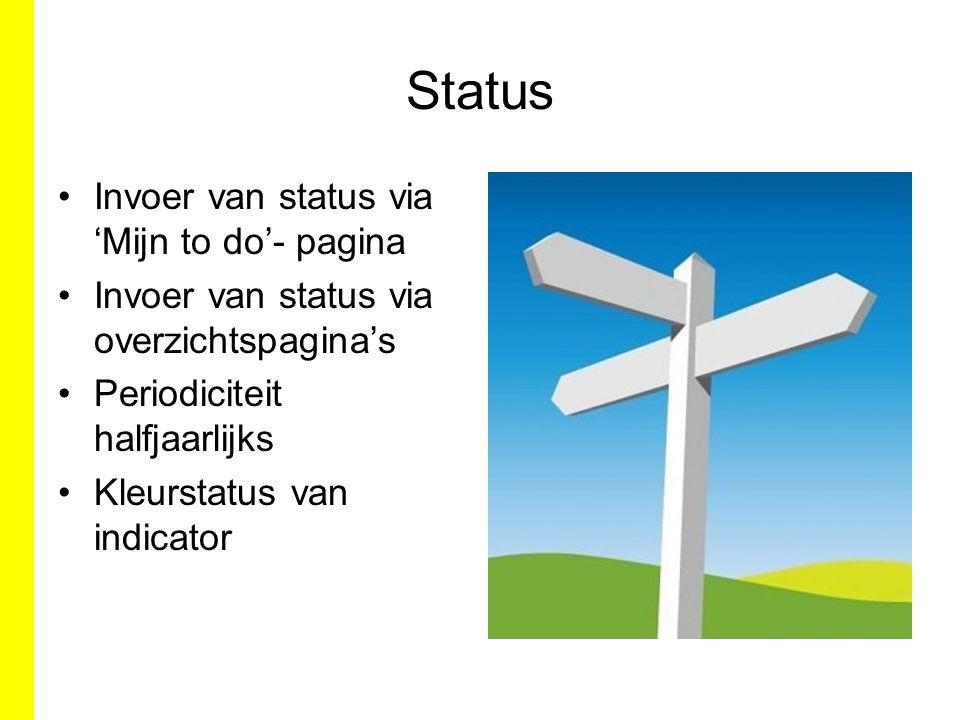 Status Invoer van status via 'Mijn to do'- pagina Invoer van status via overzichtspagina's Periodiciteit halfjaarlijks Kleurstatus van indicator