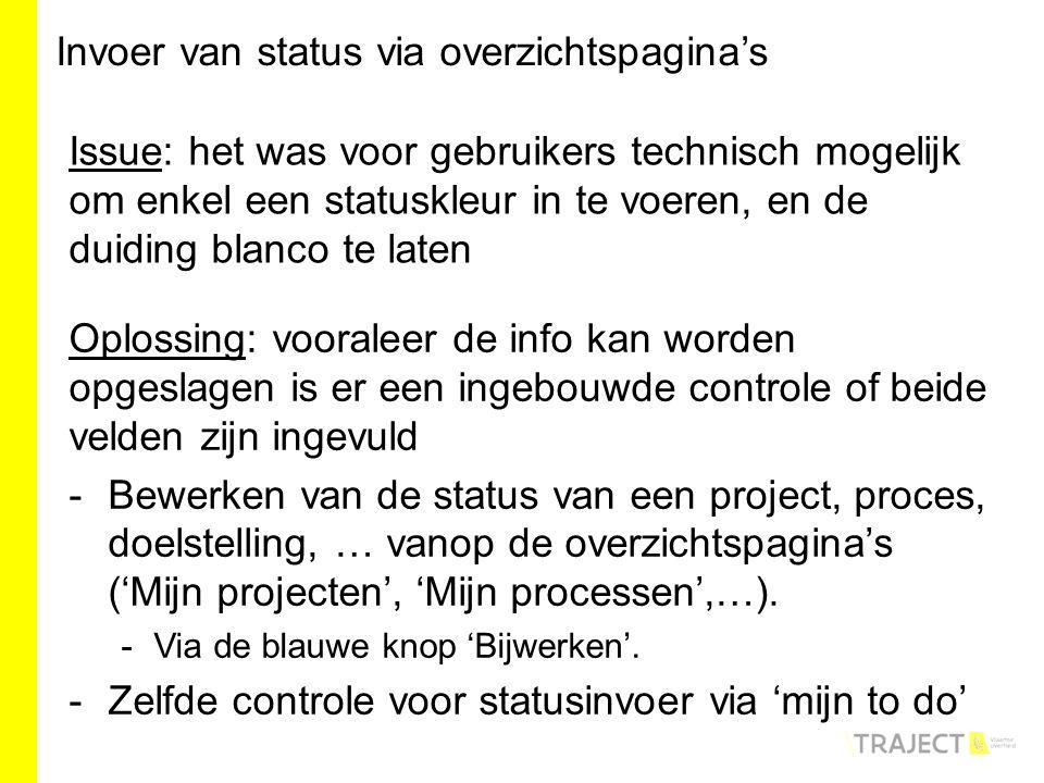 Oplossing: vooraleer de info kan worden opgeslagen is er een ingebouwde controle of beide velden zijn ingevuld -Bewerken van de status van een project, proces, doelstelling, … vanop de overzichtspagina's ('Mijn projecten', 'Mijn processen',…).
