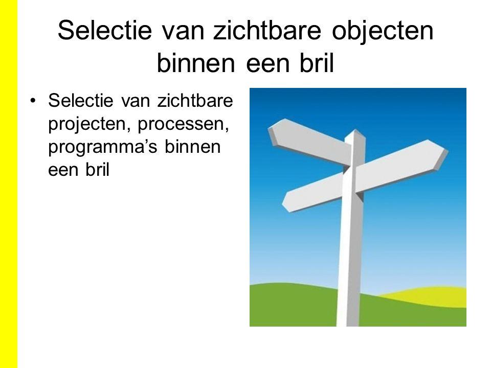 Selectie van zichtbare objecten binnen een bril Selectie van zichtbare projecten, processen, programma's binnen een bril