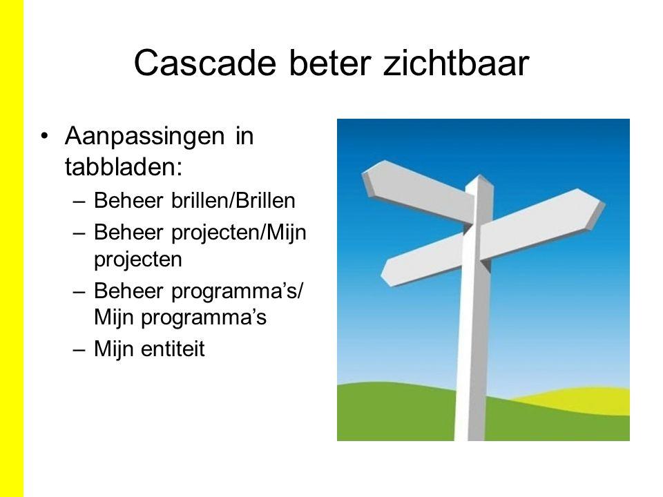 Cascade beter zichtbaar Aanpassingen in tabbladen: –Beheer brillen/Brillen –Beheer projecten/Mijn projecten –Beheer programma's/ Mijn programma's –Mijn entiteit