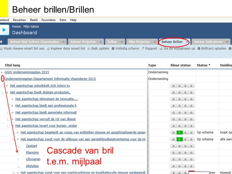 Cascade van bril t.e.m. mijlpaal Beheer brillen/Brillen
