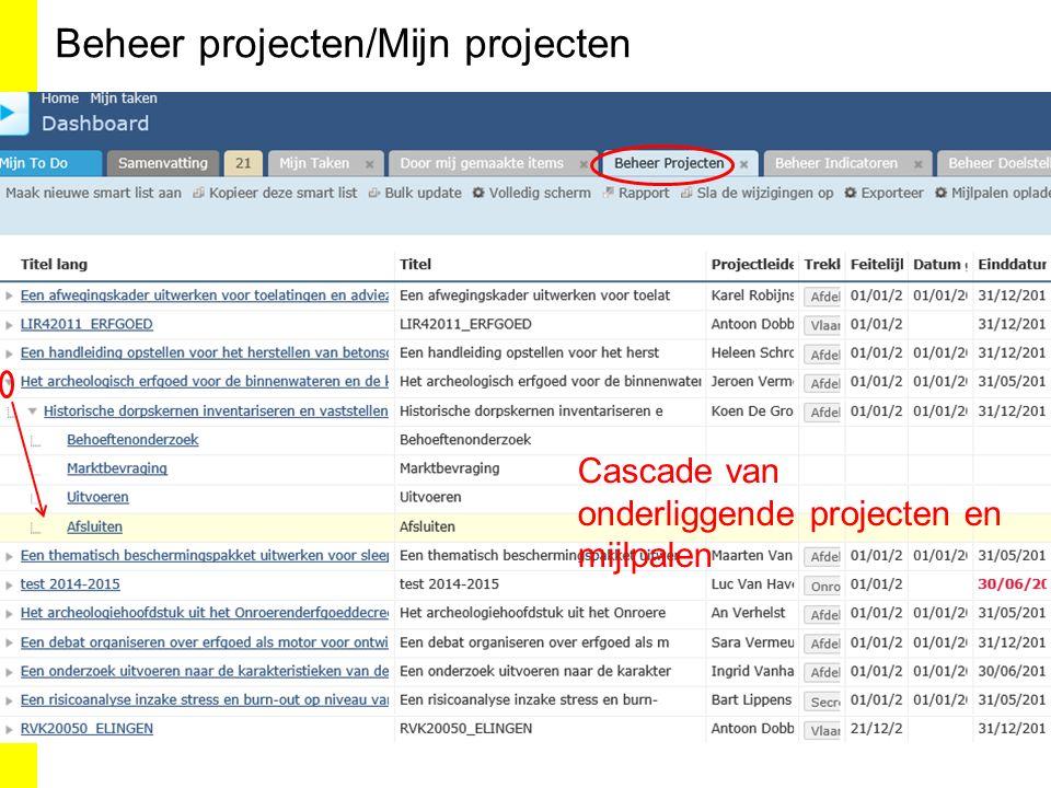 Beheer projecten/Mijn projecten Cascade van onderliggende projecten en mijlpalen