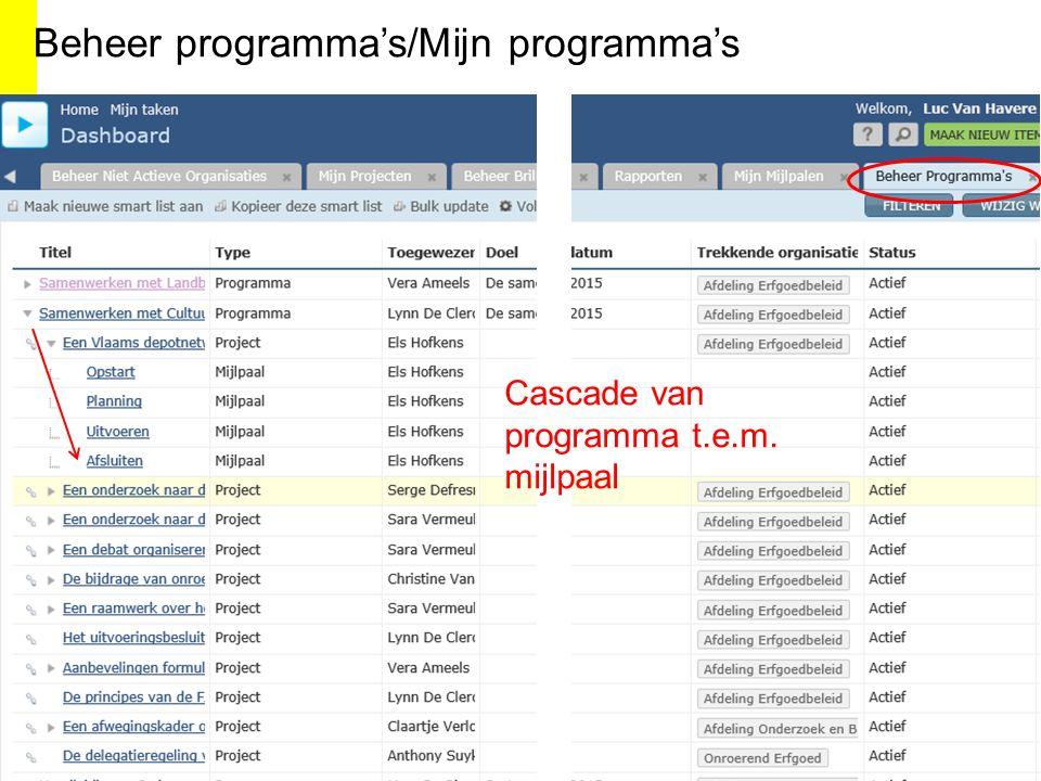 Beheer programma's/Mijn programma's Cascade van programma t.e.m. mijlpaal
