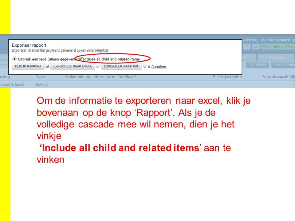 Om de informatie te exporteren naar excel, klik je bovenaan op de knop 'Rapport'.