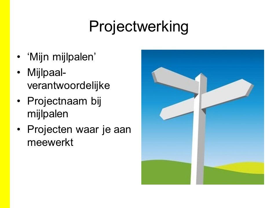 Projectwerking 'Mijn mijlpalen' Mijlpaal- verantwoordelijke Projectnaam bij mijlpalen Projecten waar je aan meewerkt