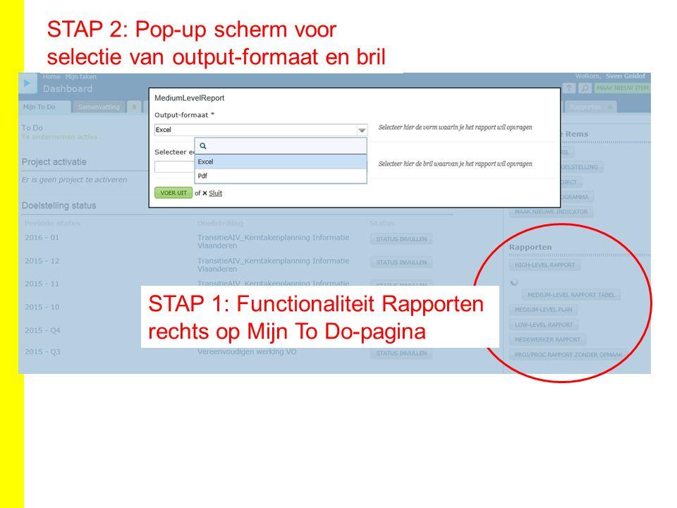 STAP 1: Functionaliteit Rapporten rechts op Mijn To Do-pagina STAP 2: Pop-up scherm voor selectie van output-formaat en bril