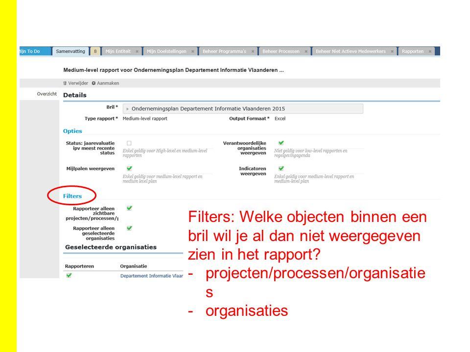 Filters: Welke objecten binnen een bril wil je al dan niet weergegeven zien in het rapport.