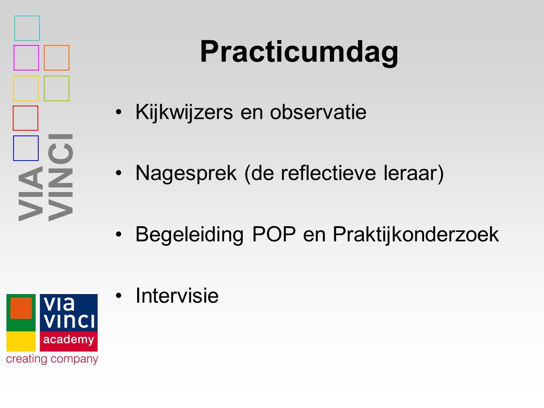 VIAVINCI Practicumdag Kijkwijzers en observatie Nagesprek (de reflectieve leraar) Begeleiding POP en Praktijkonderzoek Intervisie