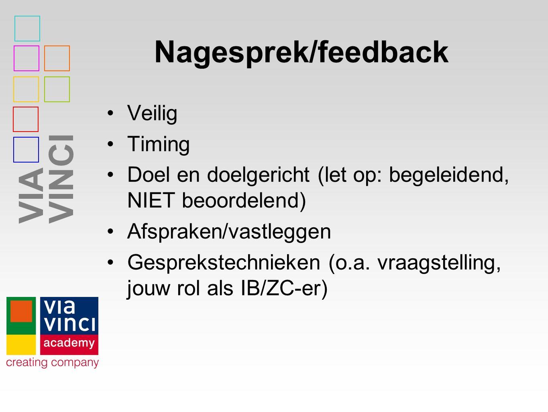 VIAVINCI Nagesprek/feedback Veilig Timing Doel en doelgericht (let op: begeleidend, NIET beoordelend) Afspraken/vastleggen Gesprekstechnieken (o.a.