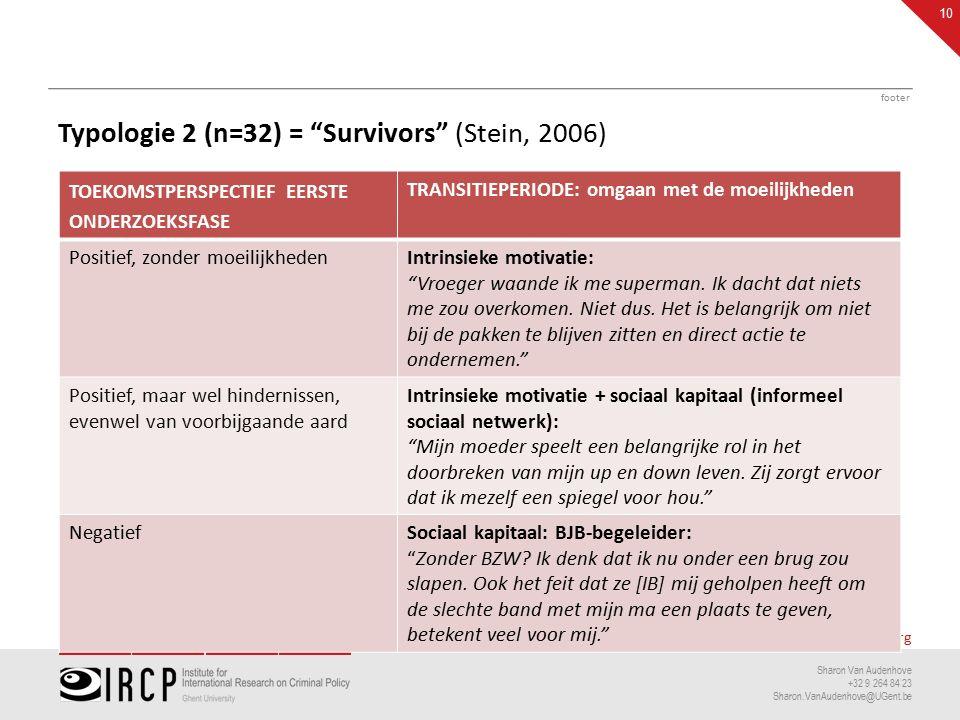 researchpublicationsconsultancyconferences www.ircp.org Sharon Van Audenhove +32 9 264 84 23 Sharon.VanAudenhove@UGent.be Typologie 2 (n=32) = Survivors (Stein, 2006) Vroeger waande ik me superman.