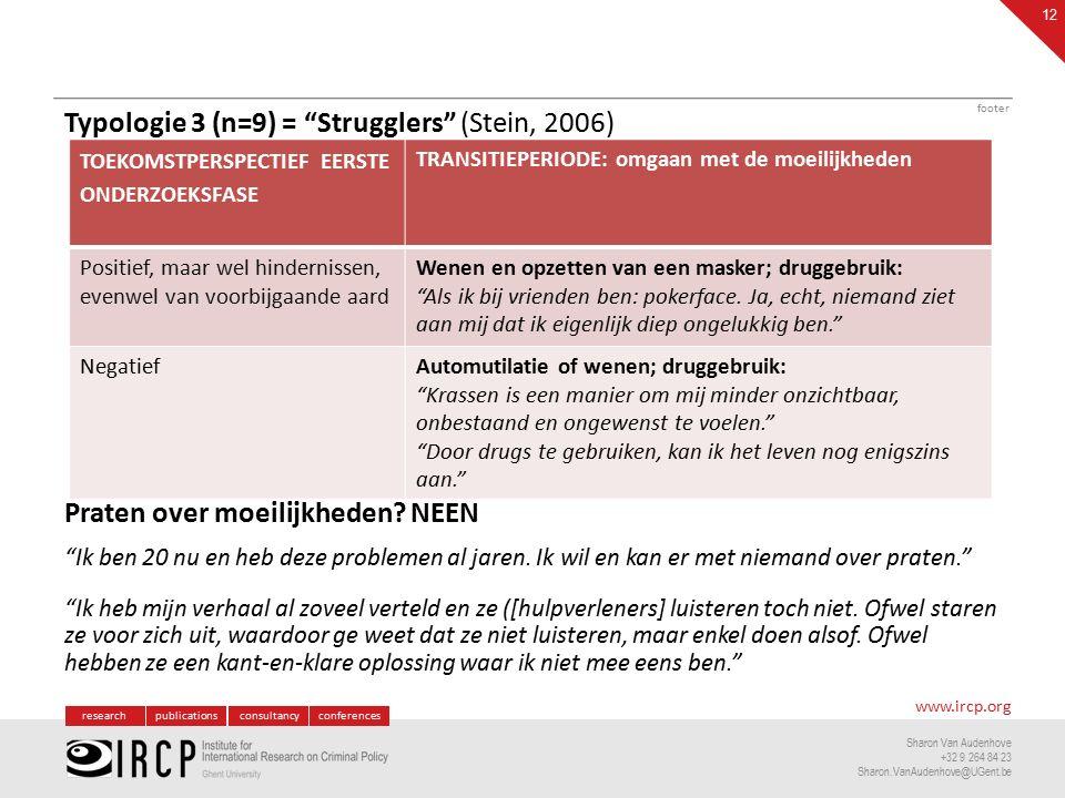 researchpublicationsconsultancyconferences www.ircp.org Sharon Van Audenhove +32 9 264 84 23 Sharon.VanAudenhove@UGent.be Typologie 3 (n=9) = Strugglers (Stein, 2006) Praten over moeilijkheden.
