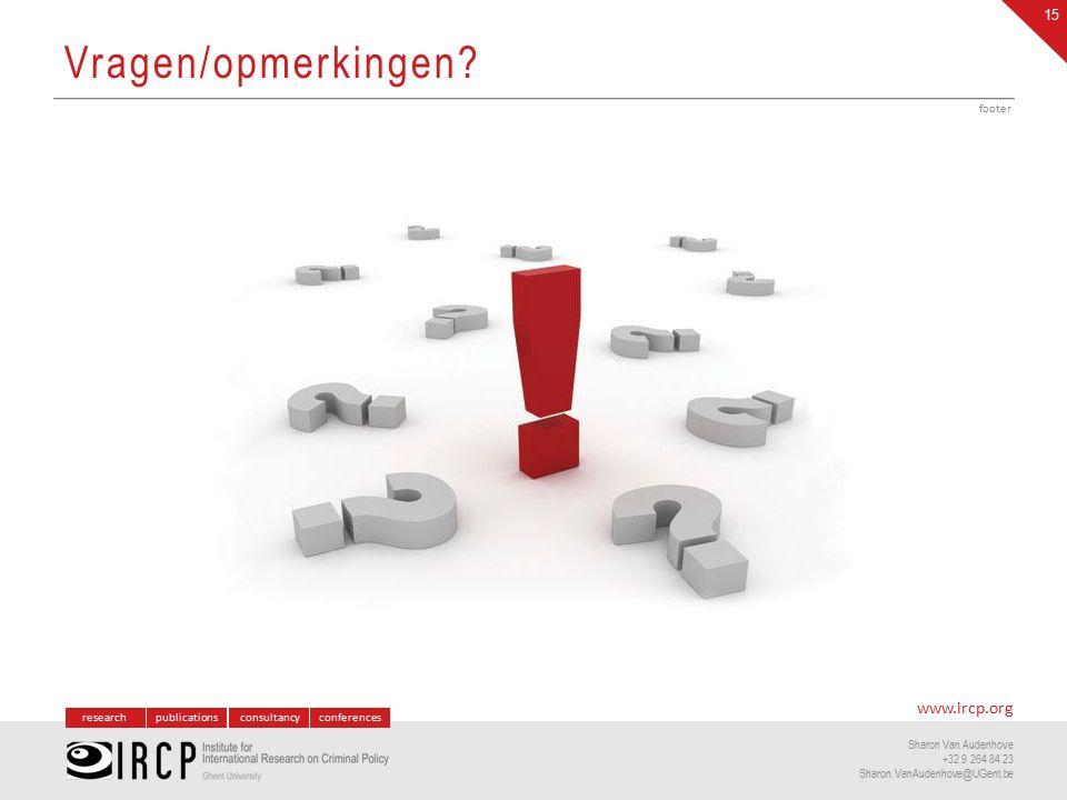 researchpublicationsconsultancyconferences www.ircp.org Sharon Van Audenhove +32 9 264 84 23 Sharon.VanAudenhove@UGent.be Vragen/opmerkingen.