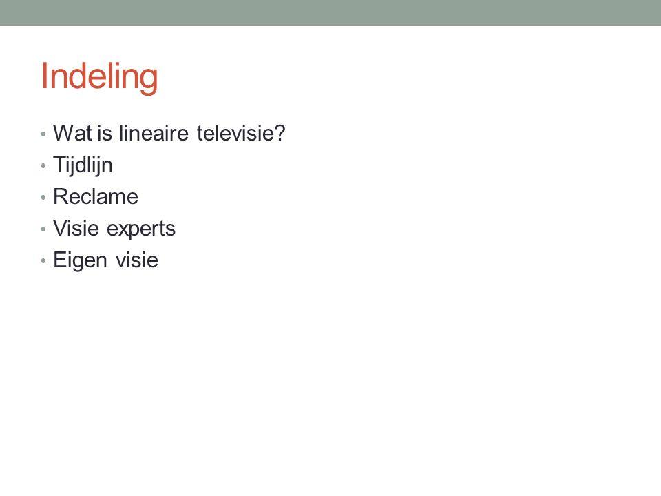 Indeling Wat is lineaire televisie? Tijdlijn Reclame Visie experts Eigen visie