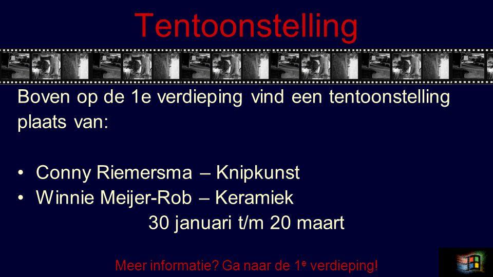 Tentoonstelling Boven op de 1e verdieping vind een tentoonstelling plaats van: Conny Riemersma – Knipkunst Winnie Meijer-Rob – Keramiek 30 januari t/m 20 maart Meer informatie.