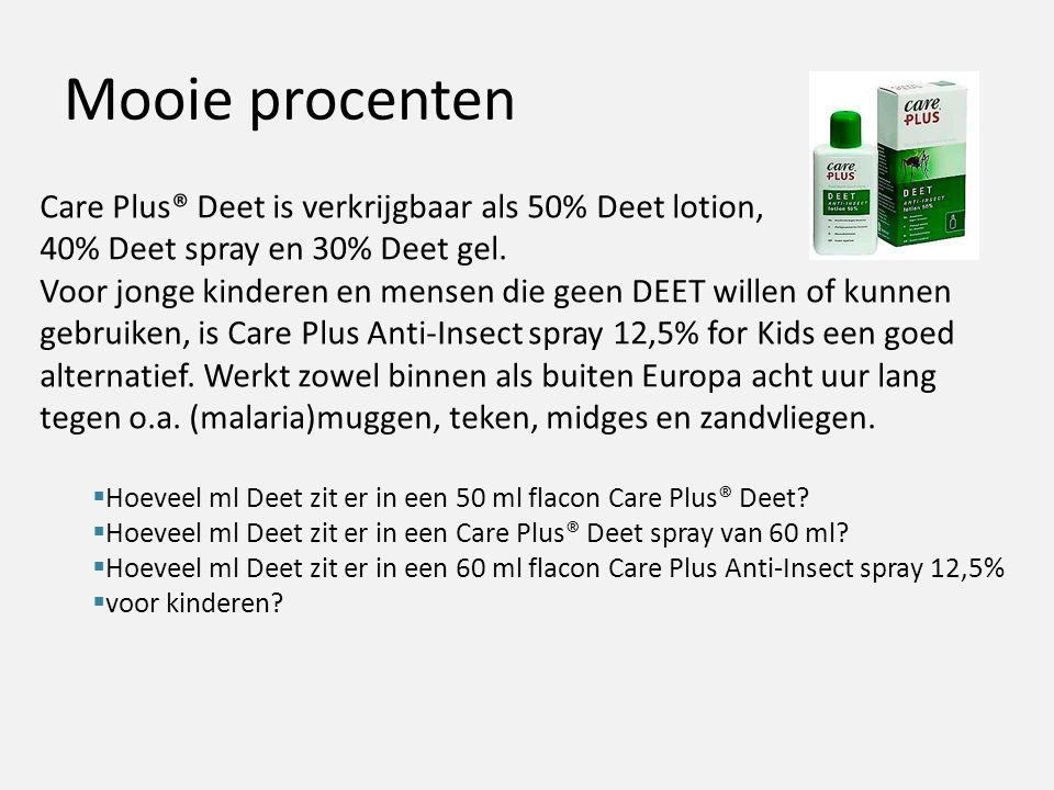 Mooie procenten Care Plus® Deet is verkrijgbaar als 50% Deet lotion, 40% Deet spray en 30% Deet gel.