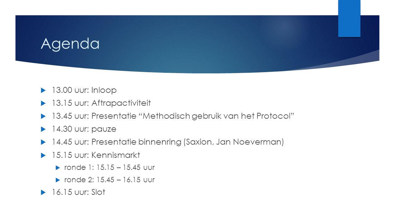 """Agenda  13.00 uur: Inloop  13.15 uur: Aftrapactiviteit  13.45 uur: Presentatie """"Methodisch gebruik van het Protocol""""  14.30 uur: pauze  14.45 uur"""