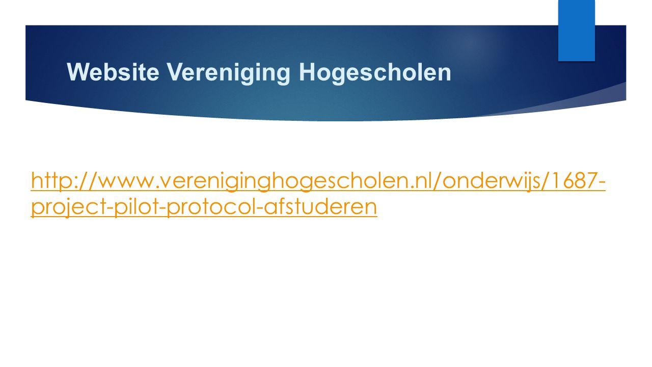 Website Vereniging Hogescholen http://www.vereniginghogescholen.nl/onderwijs/1687- project-pilot-protocol-afstuderen