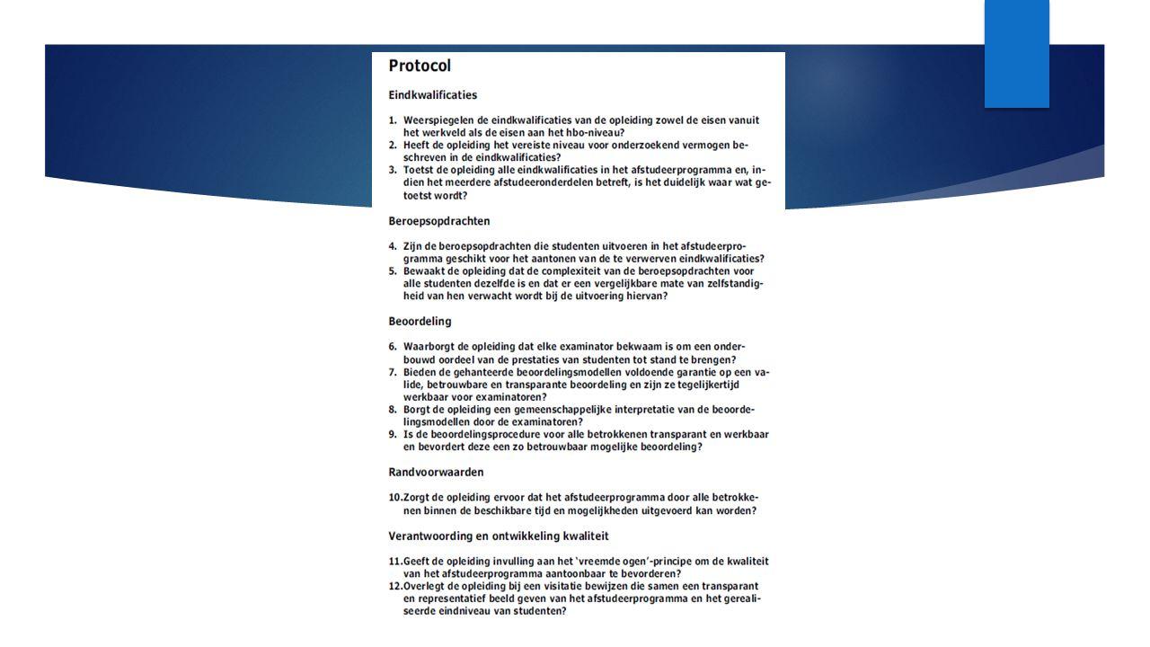 Vraagstellingen  Wat hebben hbo-opleidingen nodig om het protocol afstuderen succesvol te kunnen implementeren.